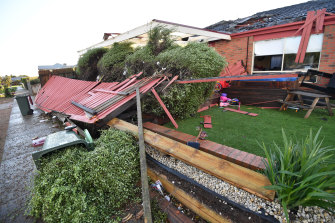 Storm damage to houses at Ironbark Street in Waurn Ponds.