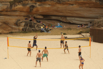 Brazilians playing volleyball at Tamarama Beach.