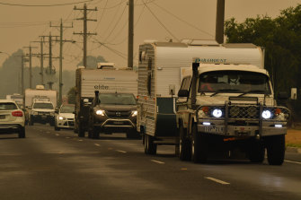 Traffic heading to Bairnsdale on the Princess Highway from Lakes Entrance.