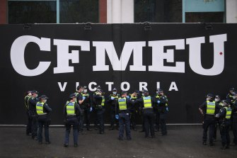 Police arrived at the CFMEU headquarters before protesters.