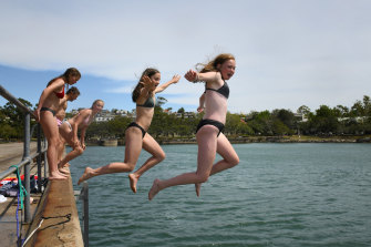 Friends cooling off at Mort Bay, Sydney Harbour.