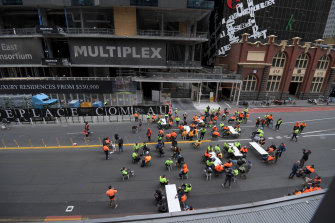 Construction workers at a Lonsdale Street building site block Lonsdale Street and use it for a tea room after being banned from using tearooms due to Covid. 17th September 2021.