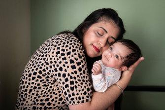 Jagwinder Kaur with her baby Gurmehar in her Sydney home.