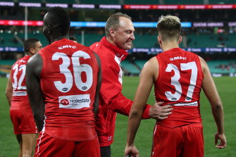 John Longmire says the Swans are trying to strike the balance between holding Elijah Taylor accountable for his actions, and supporting him.