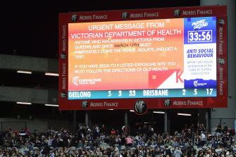 "An ""urgent health warning' was shown on the screen during the round two match between the Cats and the Lions."