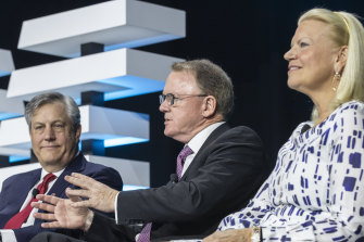 Westpac CEO Brian Hartzer, Woodside CEO Peter Coleman and IBM CEO Ginni Rometty discuss AI at the IBM Cloud Innovation Exchange in Sydney on Tuesday.