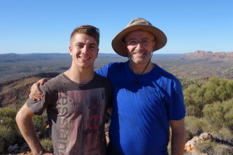 Andrew Denton and his son, Connor, on the Larapinta trail.