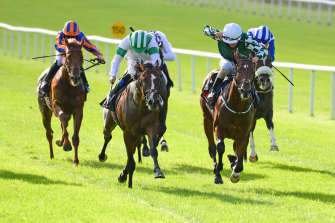 Golden Eagle raider Law of Indices (left) scores at the Curragh last year.