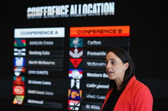AFLW boss Nicole Livingstone at the 2020 fixture launch last year.
