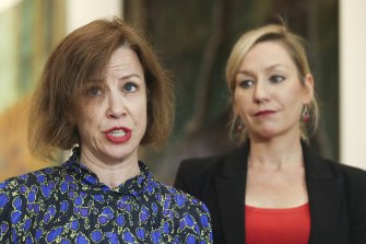 Jo Dyer and Senator Larissa Waters during a press conference on a proposed bill to establish an inquiry into Christian Porter's fitness to be a minister.
