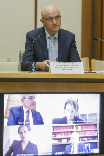 Mike Burgess at a Parliamentary Joint Committee on Intelligence and Security (PJCIS) hearing at Parliament House in Canberra last year.