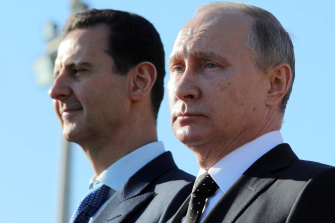 December 2017: Syrian President Bashar al-Assad and his Russian counterpart Vladimir Putin during a visit to the Hmaymim air base in Syria.