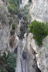 A view of the Raganello Gorge in Civita, Italy.