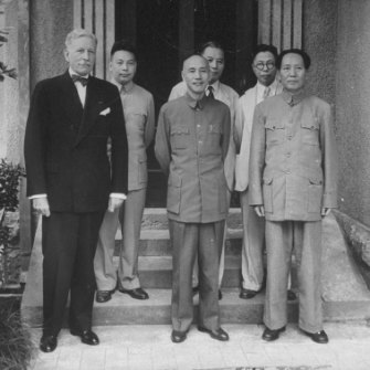 US Ambassador Patrick Hurley during ill-fated attempts to negotiate between nationalist leader Chiang Kai-Shek (centre) and Communist Mao Zedong (right) in 1945.