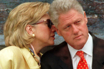 Former US president Bill Clinton, with wife Hillary Rodham Clinton, in 1998.