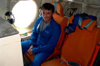 Jason Dunion on board a US hurricane hunter aircraft.