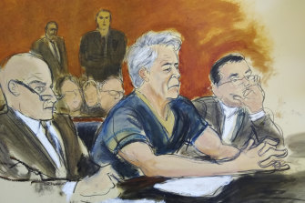 A courtroom artist's sketch of Epstein with lawyers Martin Weinberg, left, and Marc Fernich in court in July.