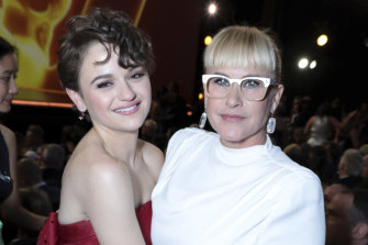 Joey King, left, and a groovily bespectacled Patricia Arquette pose at the 71st Primetime Emmy Awards last month in Los Angeles.
