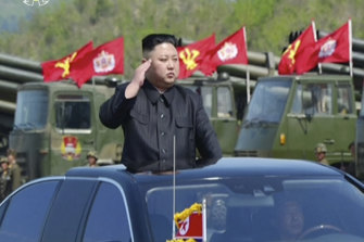 Kim Jong-un at a military demonstration in Wonsan in a file picture.