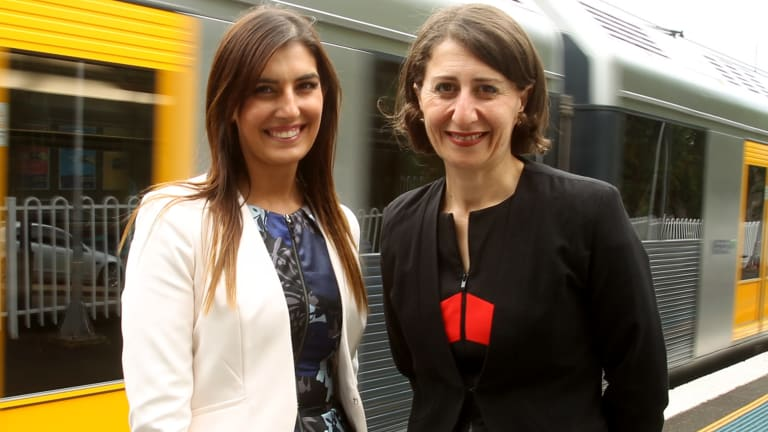 Miranda MP Eleni Petinos, pictured with Premier Gladys Berejiklian, received messages from Matt Kean apparently suggesting a sexual relationship.
