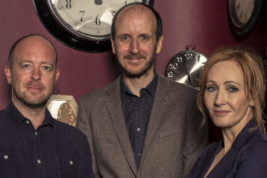 John Tiffany (left), director of <i>Harry Potter and the Cursed Child</I>, with writer Jack Thorne and author J.K. Rowling.