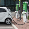 Electric car electric vehicle charging fast charger in Adelaide.