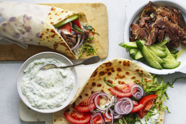 RecipeTin Eats' pulled lamb gyros.