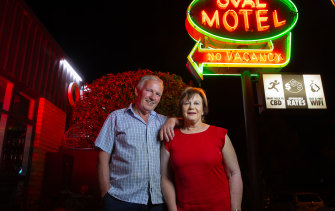 Gary and Carolyn, owners of The Oval Motel.
