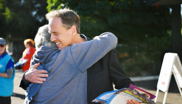 Greg Hunt campaigning at Bayview Church in Rosebud, in the seat of Flinders on Saturday.