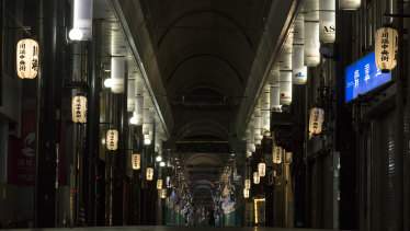 An empty shopping arcade is seen in Fukuoka, Japan, ahead of Typhoon Haishen making landfall.