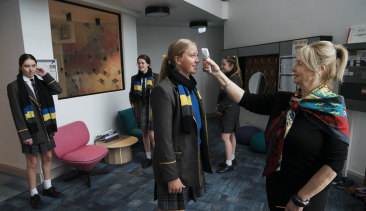 Boarding students at Kambala School in Rose Bay have their temperature checked