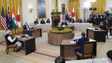 President Joe Biden speaks during the Quad summit in the East Room of the White House