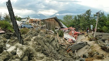 The mud chaos  left by the broken water embankment in Petobo, a district of Palu.
