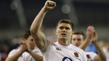 Strong start: England's Owen Farrell celebrates after their upset Six Nations victory over Ireland.
