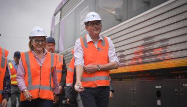 Transport Infrastructure Minister Jacinta Allan with Premier Daniel Andrews.