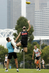 Collingwood star Brodie Grundy in action at training ahead of Collingwood's clash with the Giants.