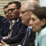 Daniel Andrews at a COAG meeting in Sydney with Prime Minister Scott Morrison and NSW Premier Glady Berejiklian in March.