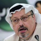 Jamal Khashoggi speaks during a press conference in Manama, Bahrain, in 2014.