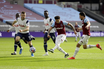 West Ham's Jesse Lingard scores his side's second goal against Tottenham at the London Stadium on Sunday.