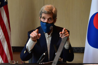 United States Special Presidential Envoy for Climate John Kerry speaks during a press conference in Seoul, South Korea.