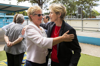 Former Matildas teammates Shona Bass (left) and Julie Dolan at a reunion last year of the 1979 team that took on New Zealand in Australia's first women's 'A' international.