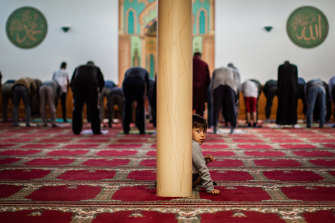 Prayer time at the Australian Bosnian Islamic Centre in Deer Park. The Mosque was taking part in the Islamic Council of Victoria's Mosque Open Day on Sunday.