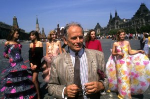 Fashion designer Pierre Cardin and his models at the Red Square in Moscow, Russia, in 1989.