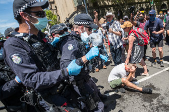 Capsicum spray was used by police on members of the crowd that gathered to protest against the Victorian government's response to COVID-19 on November 3.