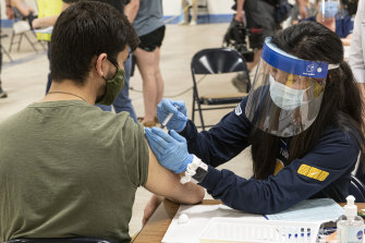 A Kent State University student getting his Johnson & Johnson COVID-19 vaccination in Ohio.