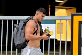 Broncos enforcer David Fifita leaves Suncorp on Thursday after the captain's run behind closed doors.