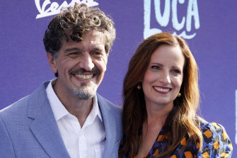 """Director Enrico Casarosa, pictured with producer Andrea Warren at the film's premiere, says """"Luca"""" is about platonic friendships."""