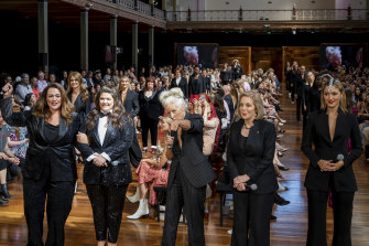 Chrissie Swan, Tanya Hennessy, Sarah Jane Adams, Ita Buttrose and Olivia Rogers at the Royal Exhibition Building.