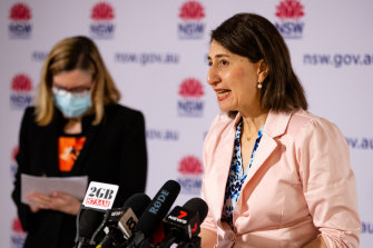 Premier Gladys Berejiklian and Chief Health Officer Kerry Chant  at the last of their daily 11am COVID updates on Sudnay.