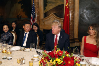 Then US president Donald Trump and Chinese President Xi Jinping, with their wives, first lady Melania Trump and Chinese first lady Peng Liyuan dined at Mar-a-Lago, in 2017.